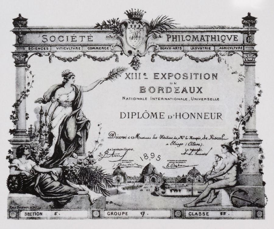 Diploma Historia Marqués de Riscal